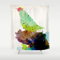 shipping Shower Curtains featuring Bird standing on a tree by contemporary
