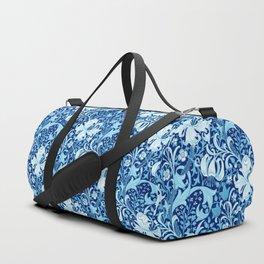 William Morris Iris and Lily, Indigo Blue and White Duffle Bag