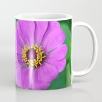 rileigh smirl Mugs featuring Bright Flower by Rileigh Smirl