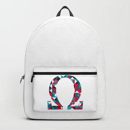 Greek alphabet, Omega, O polygonal geometric letter  Backpack