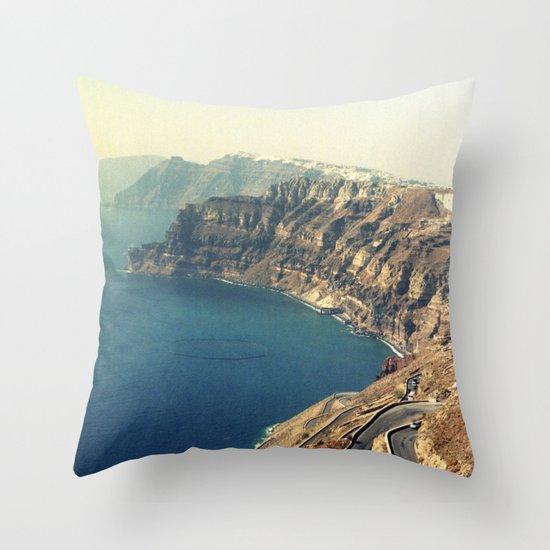 The insane roads of Santorini Throw Pillow