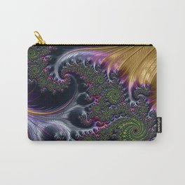 Amazing Gorgeous Intricate Elegant Fractal Flourish Swirls Gold Purple Colorful Abstract Carry-All Pouch