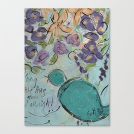 One blue bird Canvas Print