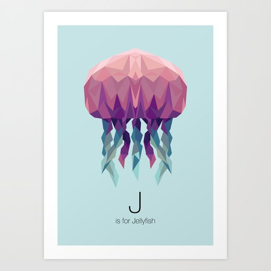 J is for Jellyfish Art Print