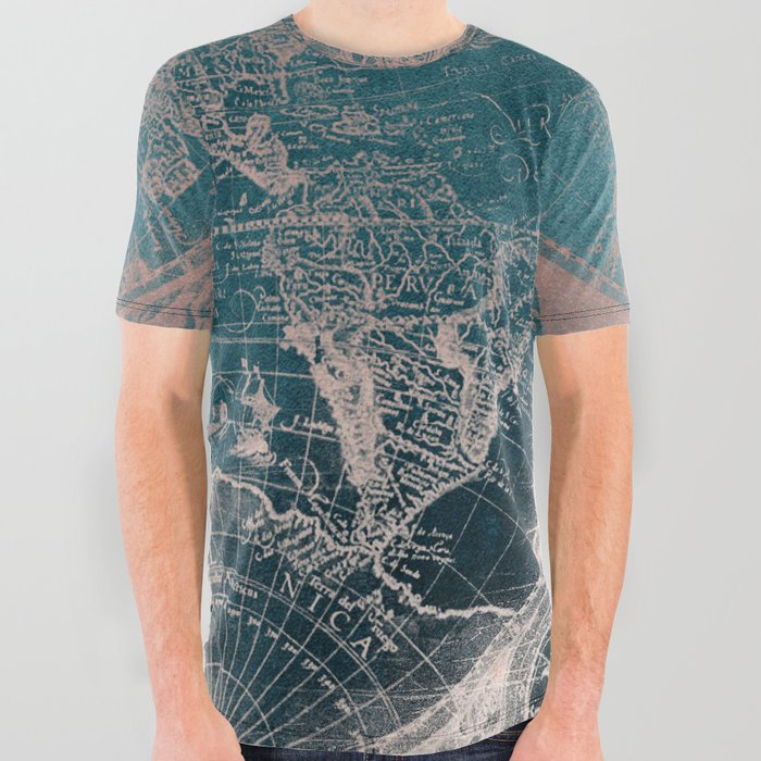 192b1ef9b Antique Map Rose Gold Navy Blue All Over Graphic Tee by naturemagick ...