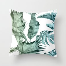 Tropical Palm Leaves Turquoise Green Blue Gradient Throw Pillow