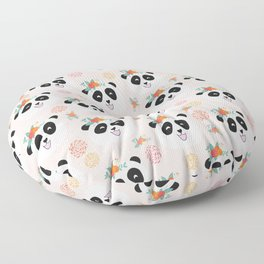 Panda bear with flowers seamless pattern Floor Pillow
