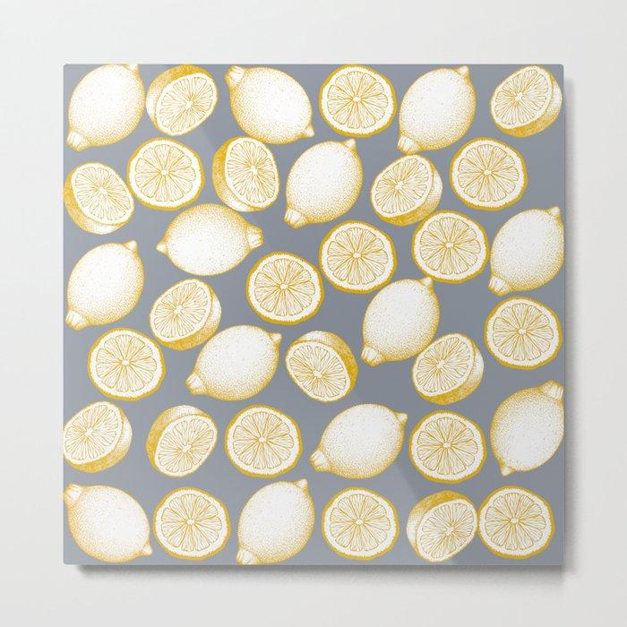 Lemons On Grey Background Metal Print