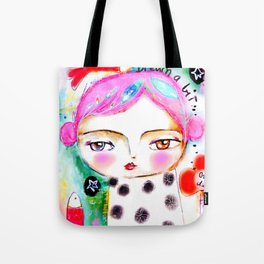 Dream a bit...every day! pink hair girl fish flowers Tote Bag