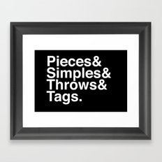Pieces & Simples & Throws & Tags. (Reversed) Framed Art Print