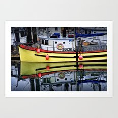 Yellow Fishing Boat in a Harbor on Vancouver Island in British Columbia Art Print