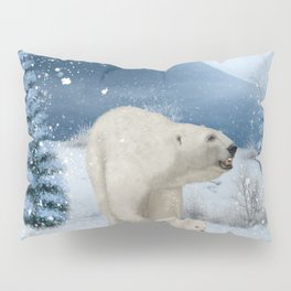 Awesome polar bear mum with polar bear cub Pillow Sham