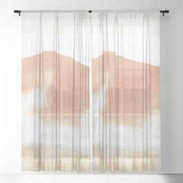 Terra Cotta Hills Abstract Landsape Sheer Curtain
