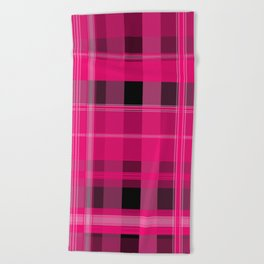 Shades of Pink and Black Plaid Beach Towel