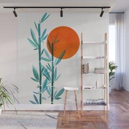 Bamboo Sunset Watercolor Wall Mural