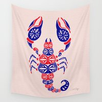 patriotic Wall Tapestries featuring Patriotic Scorpion by Cat Coquillette