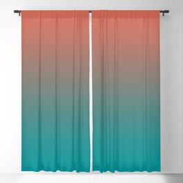 Pantone Living Coral & Viridian Green Gradient Ombre Blend Blackout Curtain