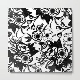 Brushed Floral Pattern Metal Print