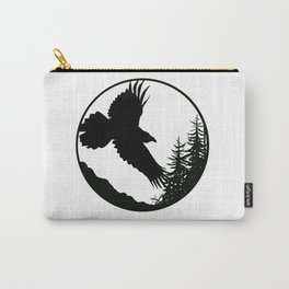 Raven & Forest circular silhouette Carry-All Pouch
