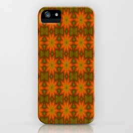 Autumnal Leaves Red and Green Repeating Pattern iPhone Case