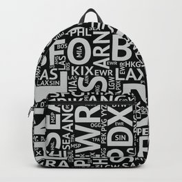 World Airport Codes (All Black) Backpack