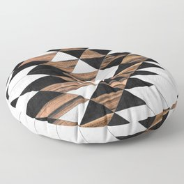 Urban Tribal Pattern No.9 - Aztec - Concrete and Wood Floor Pillow