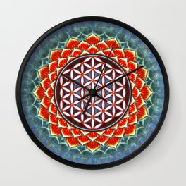 Flower Of Live - Red Lotus Wall Clock