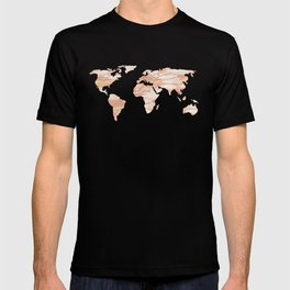 Marble Map Rose Gold Yellow Glittery World T-shirt