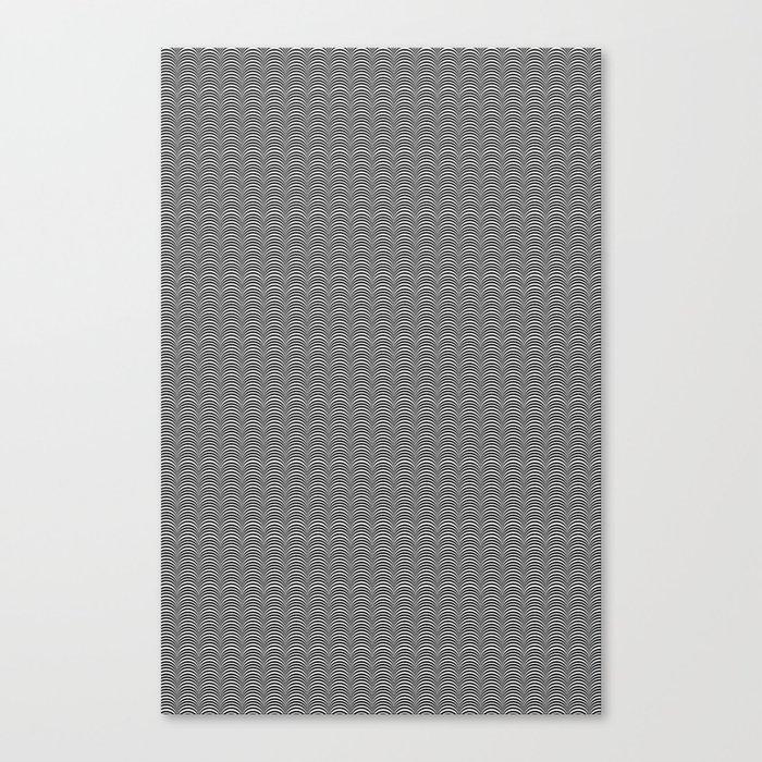 Black and White Scallop Line Pattern Digital Graphic Design Canvas Print