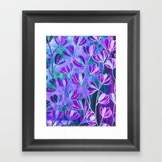 EFFLORESCENCE Lavender Purple Blue Colorful Floral Watercolor Painting Summer Garden Flowers Pattern Framed Art Print