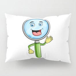 Magnifying Glass Character Design Magnifying Glass Mascot Pillow Sham