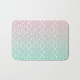 Moroccan pattern with mint, pink and gold Bath Mat