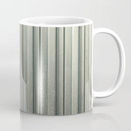 Corrugated iron of aluminum on a facade. Background image. Coffee Mug