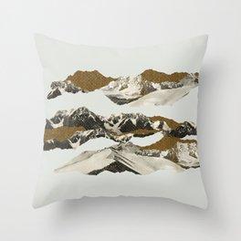 Golden Zugspitze / White Throw Pillow