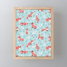 Fox and Bunny Pattern Framed Mini Art Print
