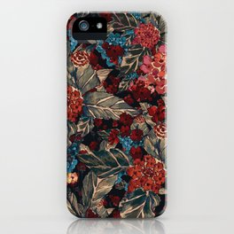 Deep moody floral watercolor - dark red,  rich dark blue and brown iPhone Case