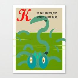K is for Kraken Canvas Print