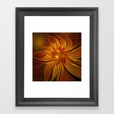 Fractal Flower - Red Framed Art Print