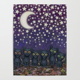 black cats, stars, & moon Poster