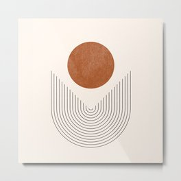 Boho Geometric Shapes, Abstract Lines and Shapes, Arch Lines, Burnt Orange - Mid-century Sun Metal Print
