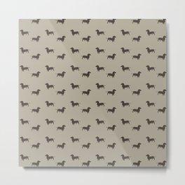 Minimalist Dachshund Pattern Metal Print
