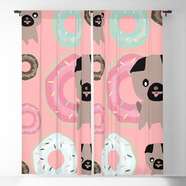 Pug and donuts pink Blackout Curtain