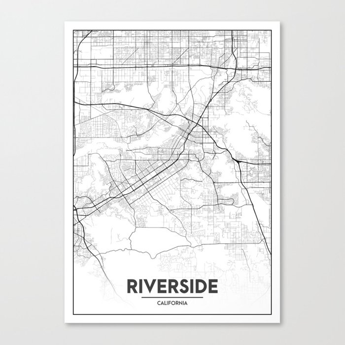Minimal City Maps - Map Of Riverside, California, United States Canvas  Print by valsymot