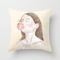 ballon Throw Pillows featuring ballon by lazy albino