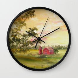 Red Barn, Farm Painting, by Faye Wall Clock