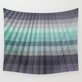 Teal Turquoise Gray Pleated Stripes Wall Tapestry