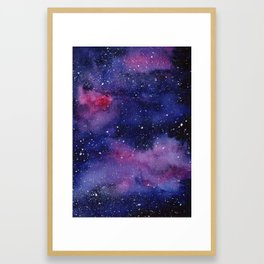 Watercolor Galaxy Nebula Pink Purple Sky Stars Framed Art Print