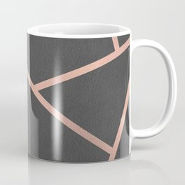 Dark Grey and Rose Gold Textured Fragments - Geometric Design Coffee Mug