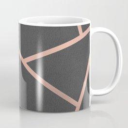 Dark Grey and Rose Gold Textured Fragments - Geometric Design Coffee Mug