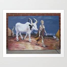 Bull as a gift Art Print